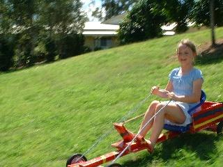 Girl on a go kart