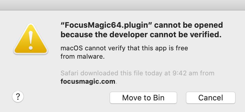 MacOS plugin developer cannot be verified